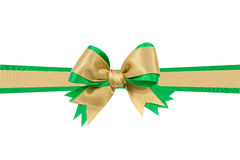 Gold bow ribbon. Gold and Green satin gift bow ribbon isolated on white background Stock Images