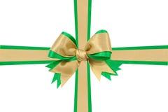 Gold bow ribbon Royalty Free Stock Photos