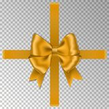 Gold bow with ribbon isolated on white background. Vector rose bow for gift box decor. Top view of C royalty free illustration