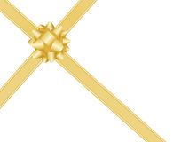 Gold bow and ribbons Royalty Free Stock Image