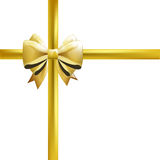 Gold bow with ribbons on white background. Vector illustration. Stock Image