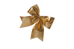 Gold Bowknot white isolated Royalty Free Stock Photo
