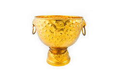 Gold Bowl and Tray with Pedestal Stock Image