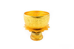 Gold Bowl and Tray with Pedestal Royalty Free Stock Photos