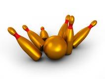 Gold bowling Royalty Free Stock Photo
