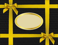 Gold bows on textured background Stock Images
