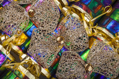 Gold Bows on Traditional Crackers Royalty Free Stock Photos