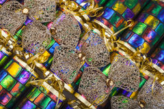 Gold Bows on Traditional Crackers Stock Photography