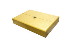 Gold box. On the white background Royalty Free Stock Photo