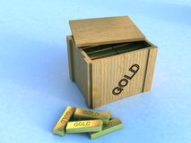 Gold Box. An illustration with a wooden box containing gold chips, on a blue background Royalty Free Stock Image
