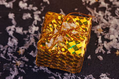 Gold box with gifts Royalty Free Stock Photo