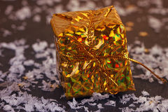 Gold box with gifts Stock Photo