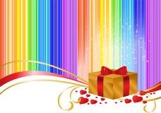 Gold Box On Rainbow Background Stock Image
