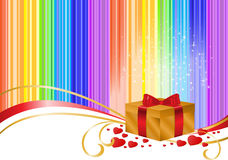 Gold box on rainbow background Stock Image