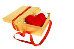 Gold box with red heart Royalty Free Stock Image