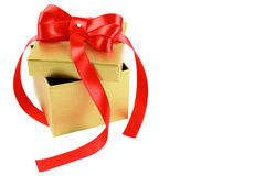 Gold box with red strip Royalty Free Stock Image