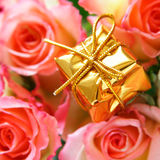Gold box and rosebuds Stock Image