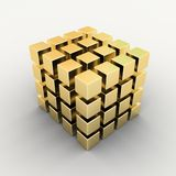Gold box's array on white Royalty Free Stock Images