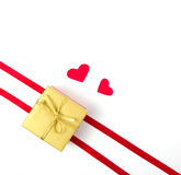 Gold box wiht heart on white background Stock Images