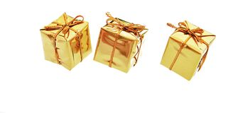 Gold boxes Royalty Free Stock Photo