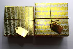 Gold boxes Royalty Free Stock Photos