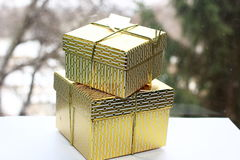 Gold boxes Royalty Free Stock Image