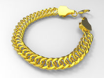 Gold bracelet. 3D rendered illustration of a golden bracelet. The composition is isolated on a white background with shadows Royalty Free Stock Photos