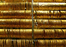 Gold bracelets Stock Images