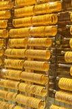 Gold bracelets stock photography