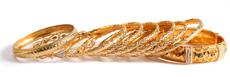 Gold bracelets Royalty Free Stock Image