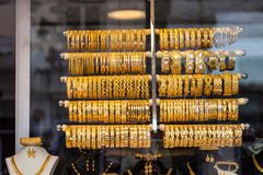 Gold bracelets in the window, Turkey Stock Images