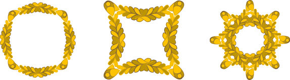 Gold branch frames Royalty Free Stock Images
