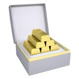 Gold bricks in open gift box Royalty Free Stock Photography