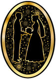 Gold bride and groom on a black background Royalty Free Stock Photos