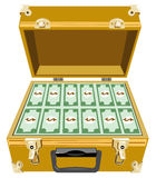 Gold briefcase with money Stock Image