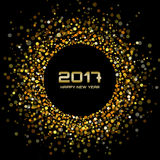 Gold bright confetti circle frame New Year 2017 background. Stock Photography