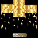 Gold bright crystal abstract background. Vector gold background. Sparkles, lights stock illustration
