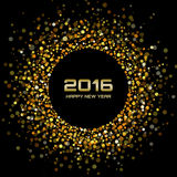Gold Bright New Year 2016 Background. Vector illustration Stock Photo