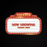 Gold brightly theater glowing retro cinema neon sign Royalty Free Stock Photos
