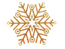 Gold brocade snowflake. Gold brocade snow star isolated on white royalty free illustration