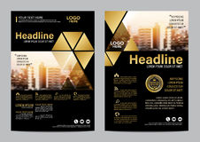 Gold Brochure Layout design template. Annual Report Flyer Leaflet cover Presentation Modern background. illustration vector in A4 Stock Photo
