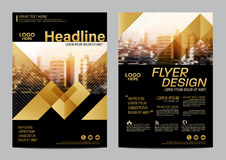 Gold Brochure Layout design template. Annual Report Flyer Leaflet cover Presentation Modern background. illustration vector in A4 Stock Image