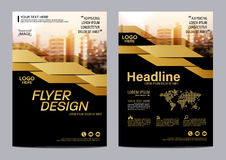 Gold Brochure Layout design template. Annual Report Flyer Leaflet cover Presentation Modern background. illustration vector in A4 Royalty Free Stock Photography