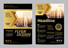 Gold Brochure Layout Design Template. Annual Report Flyer Leaflet Cover Presentation Modern Background. Illustration Vector In A4 Royalty Free Stock Image