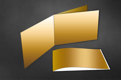 Gold Brochure Mock Up Royalty Free Stock Photo