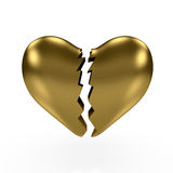 Gold broken heart. 3d render of gold broken heart om white background Royalty Free Stock Photo