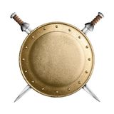 Gold or bronze gladiator shield and two crossed Royalty Free Stock Photos