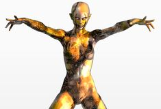 Gold and bronze marble girl Stock Photos