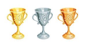 Gold, bronze, silver champion cup. First, second, third Winner Prize. Set of Sports win trophy. Isolated white background. Vector illustration Stock Photo