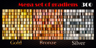 Gold, bronze and silver gradients. Huge vector collection Stock Images